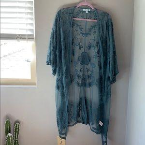 She & Sky Teal Kimono